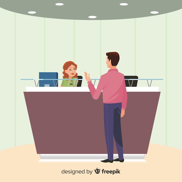 Company receptionist looking after customer background Free Vector