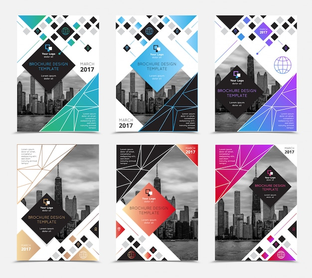 Company report brochure covers set flat isolated vector illustration Free Vector