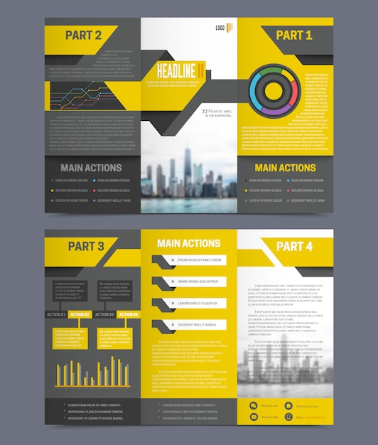 Company report flyer template on grey background flat isolated vector illustration Free Vector