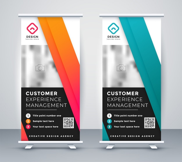 Company rollup presentation banner in two colors Free Vector