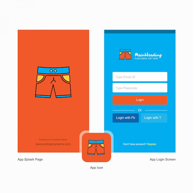 Company shorts splash screen and login page  with logo template. mobile online business template Premium Vector
