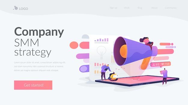 Целевая страница smm-стратегии компании Бесплатные векторы