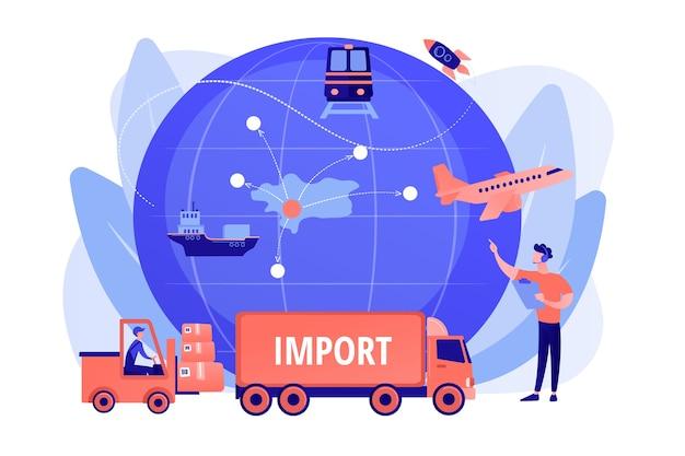 Компания, специализирующаяся на зарубежных продуктах. импорт товаров и услуг, услуги импорта товаров, концепция процесса международных продаж. розовый коралловый синий вектор изолированных иллюстрация Бесплатные векторы