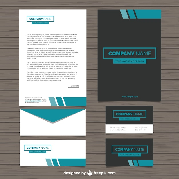 Company Stationery In Modern Style Vector Free Download