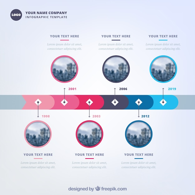 Company time line template with modern style