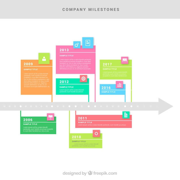 Company time line with colorful style
