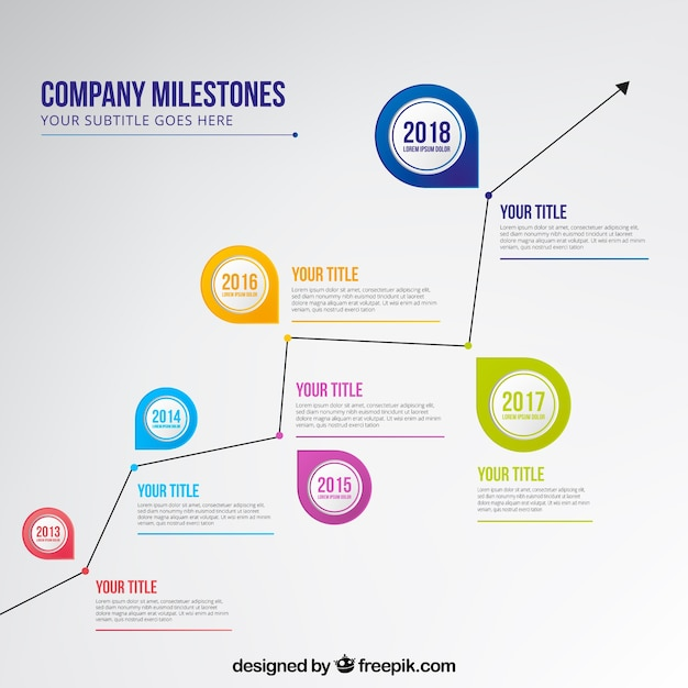 Company time line with graphic style