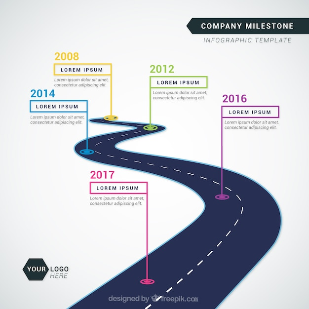 Company time line with road Free Vector