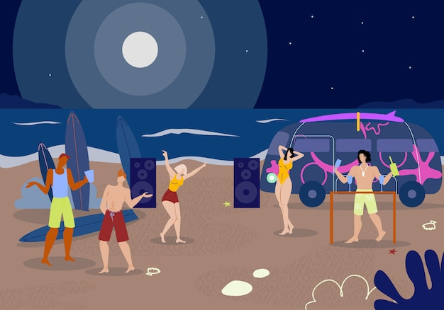 Company young people clubbing on nighty beach. Premium Vector