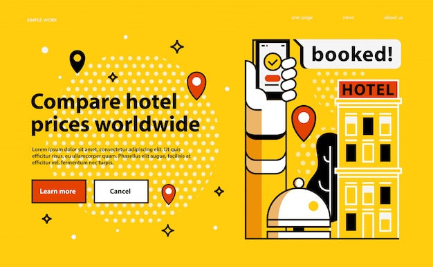 世界中のホテルの価格を比較します。 Premiumベクター