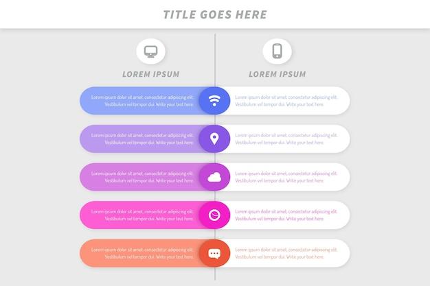 Comparison chart infographic template Premium Vector