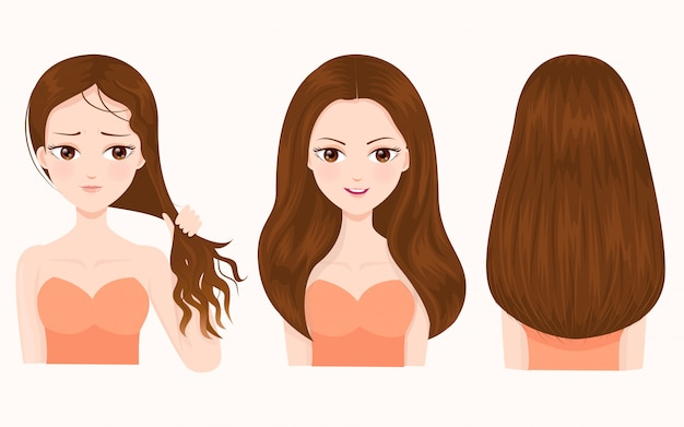 Comparison of damaged and beautiful hair Premium Vector