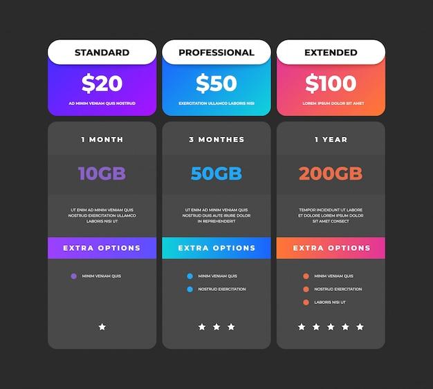 比較表。ビジネス価格チャートwebバナー、webサイト関税計画デザインテンプレート、チェックリストグリッド。価格比較表メニュー比較クリエイティブインフォグラフィック Premiumベクター