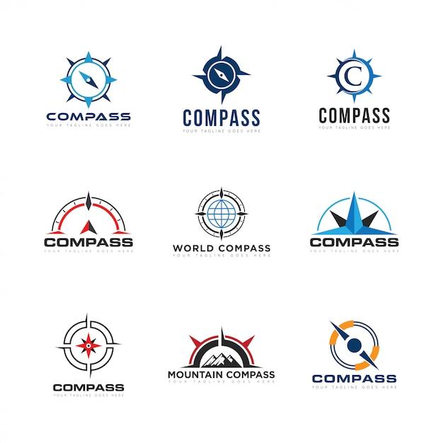 Установить compas логотип и значок векторные иллюстрации Premium векторы