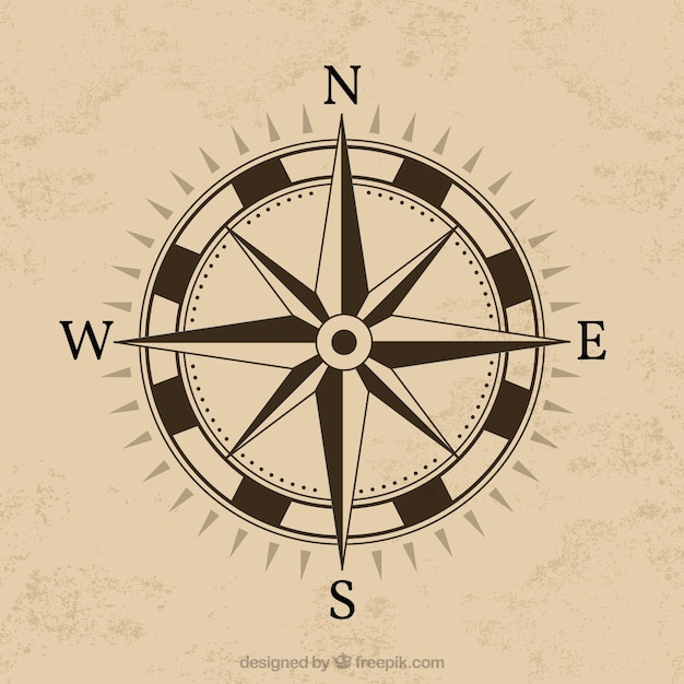 Compass design with brown background