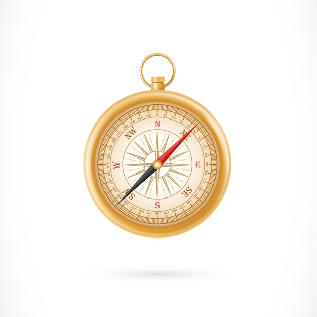 Compass in golden case illustration Free Vector
