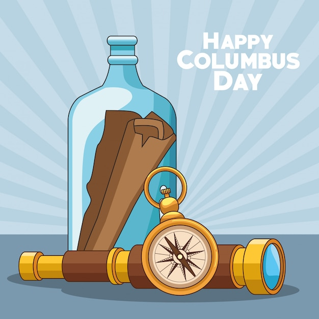 Compass and happy columbus Premium Vector