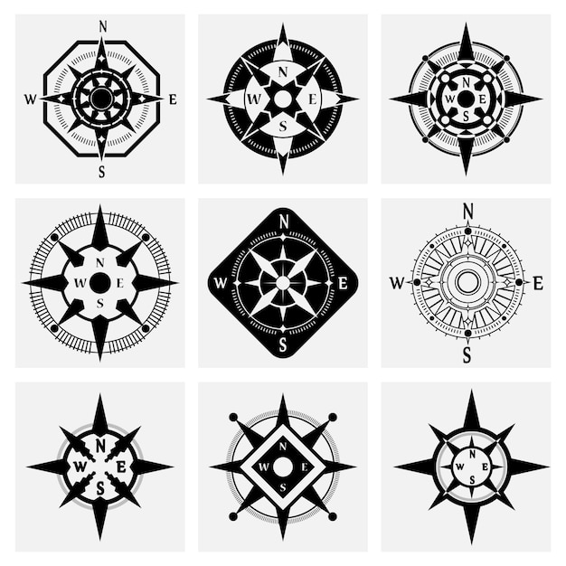 Compass icons set Free Vector