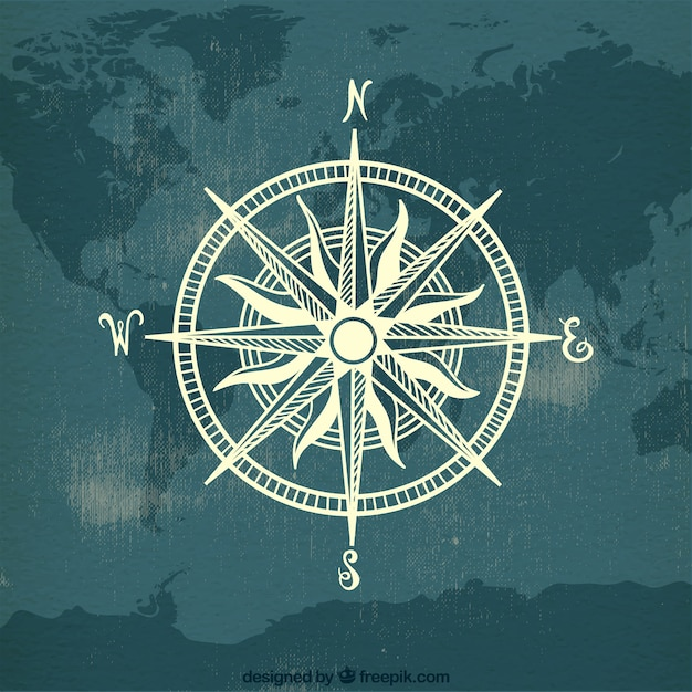 Compass on map world background Free Vector