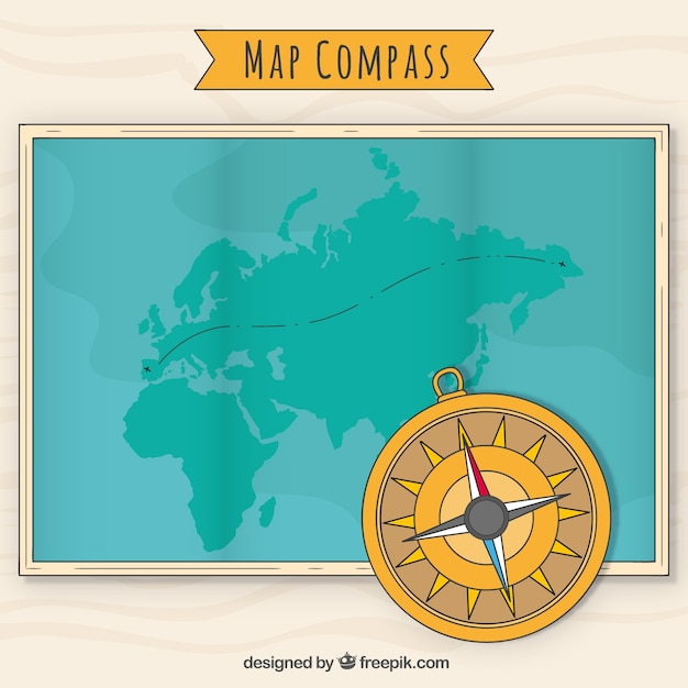 Compass on world map background vector free download compass on world map background free vector gumiabroncs Images