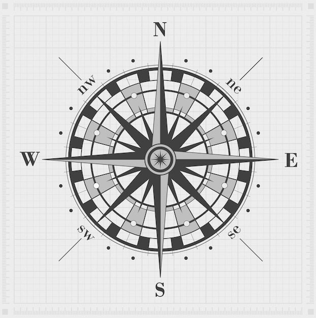 Compass rose over grid. vector illustration. Premium Vector