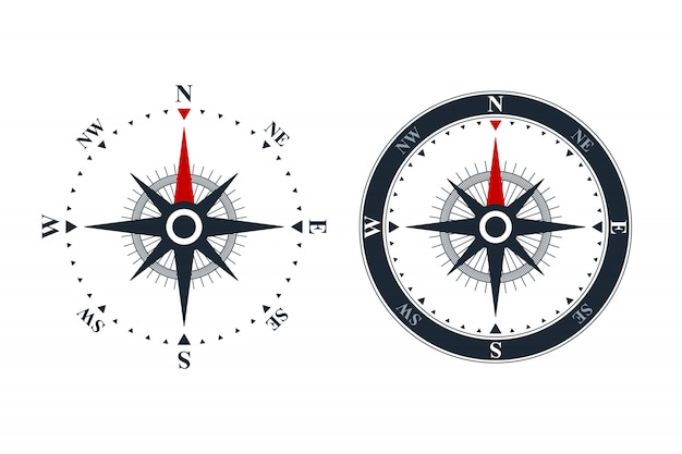 Compass rose icons Premium Vector