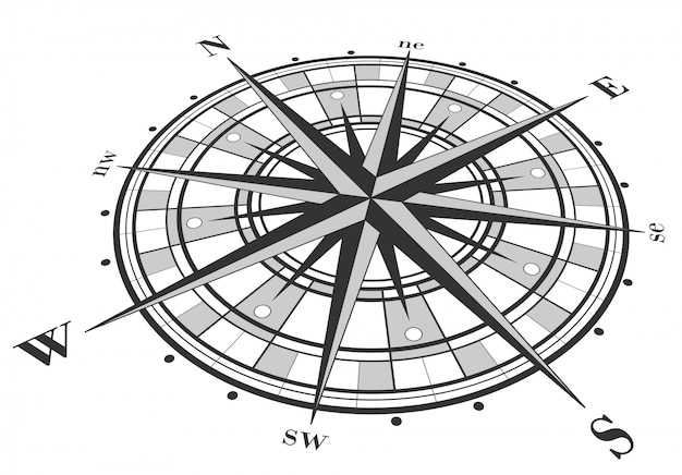 Compass rose isolated on white. Premium Vector