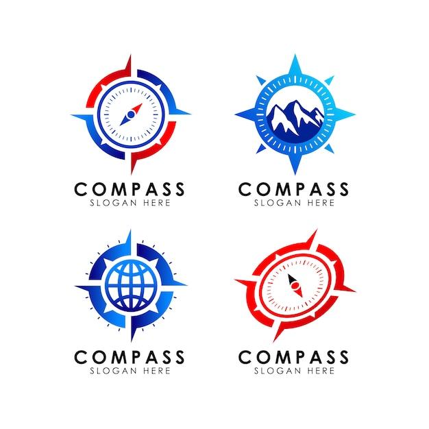 Шаблон дизайна значка логотипа compass Premium векторы