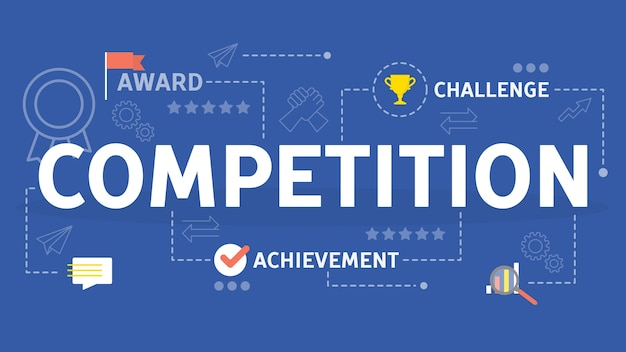 Competition concept. idea of business race and ambition Premium Vector