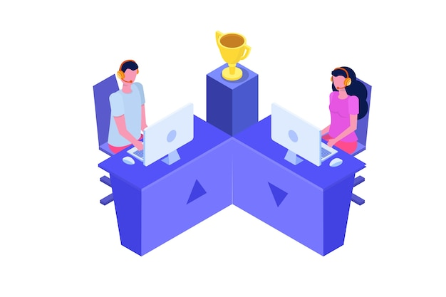 Competition cybersport  computer gaming  isometric concept Premium Vector