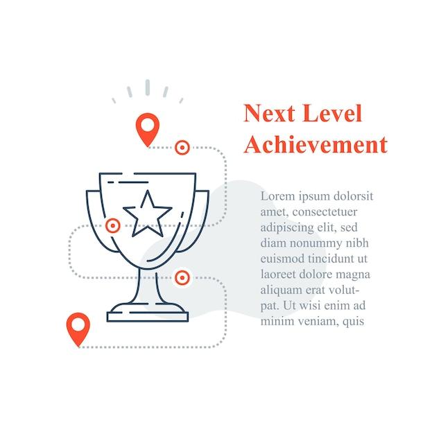 競争報酬の概念、優秀賞、勝者カップ、成功への戦略、次のレベルの改善、高達成トロフィー、インセンティブプログラム、長期目標、ラインアイコン Premiumベクター