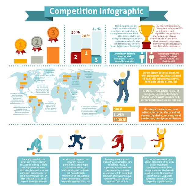 Competition statistic inographics Free Vector