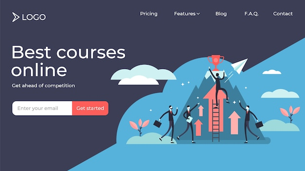 Competition tiny persons illustration landing page template . Premium Vector