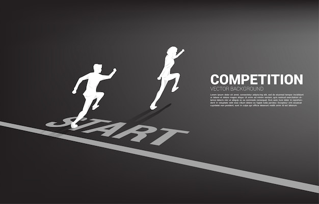 Competition of two silhouette of businessman running from start line. Premium Vector