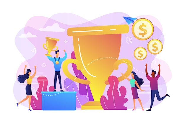Competition winner holding golden trophy and medal. leadership and achievement. prize pool, prize money distribution, tournament main prize concept. Free Vector