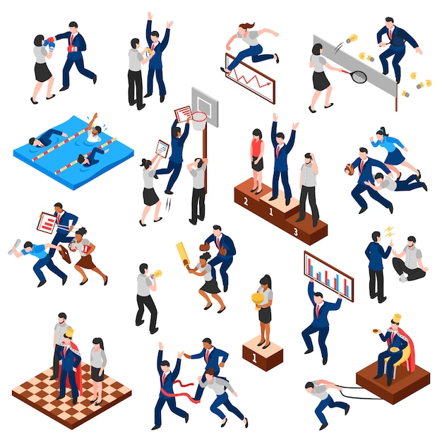 Competitions of business characters isometric set Free Vector