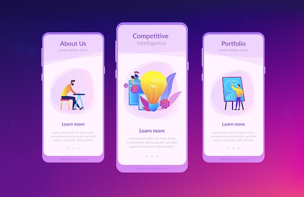 Competitive intelligence app interface template Premium Vector
