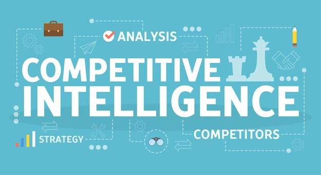 競争力のあるインテリジェンスの概念。事業組織の考え方 Premiumベクター