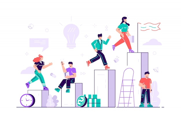 Competitive process, business man and woman run to their goal, move up the motivation Premium Vector