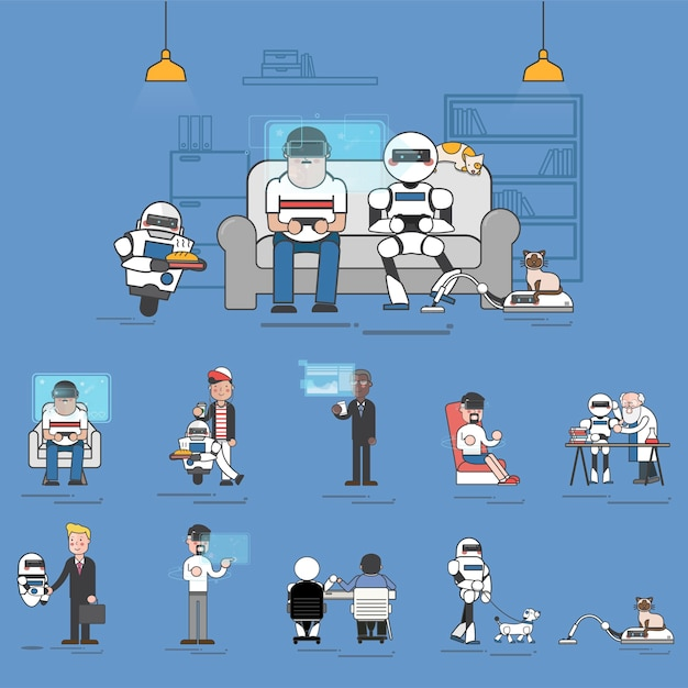Compilation of advanced AI technology in everyday life illustration Free Vector
