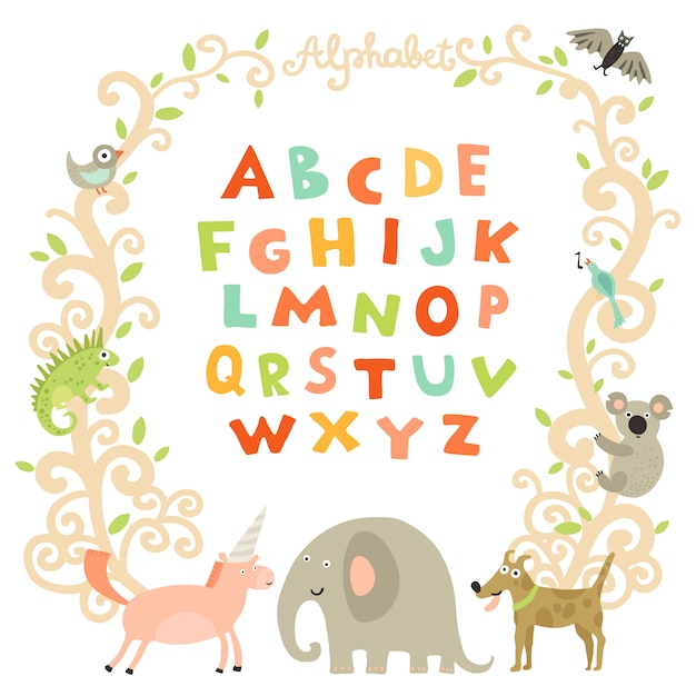 Complete children alphabet Free Vector