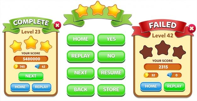 Уровень complete и уровень failed всплывающее меню со счетом звезд и кнопок gui Premium векторы