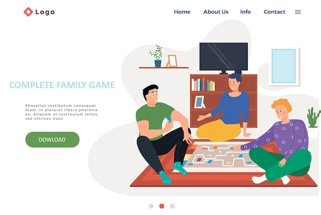 Complete family game landing page template with happy family or friends playing logic strategic game at home on the weekend. Premium Vector