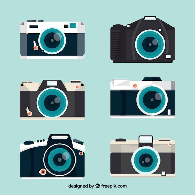Complete flat design camera collection