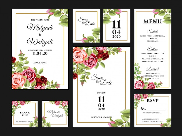 Complete floral wedding invitation card design template set Premium Vector