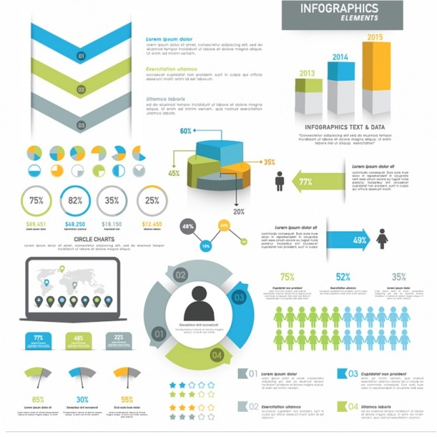 Complete infographic template with different elements  Premium Vector