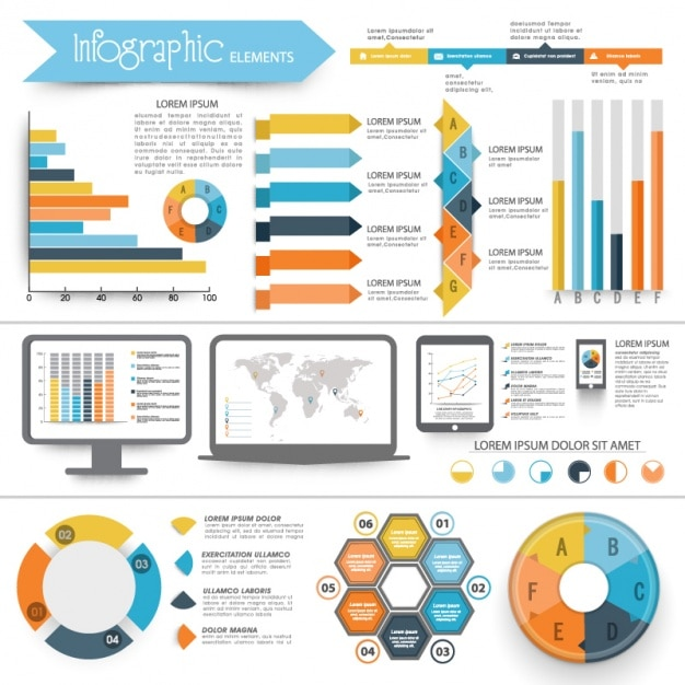 Complete infographics with geometric elements Premium Vector