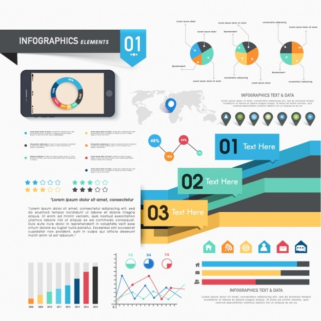 Complete infographics with multiple elements Premium Vector
