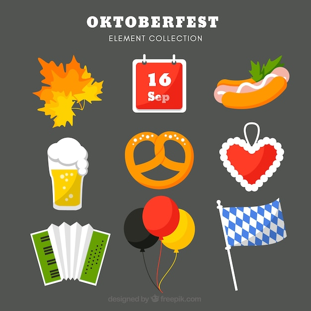 Complete set of german party elements Free Vector