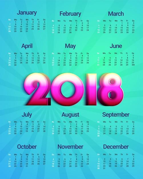 complete set of 12 months 2018 calendar premium vector